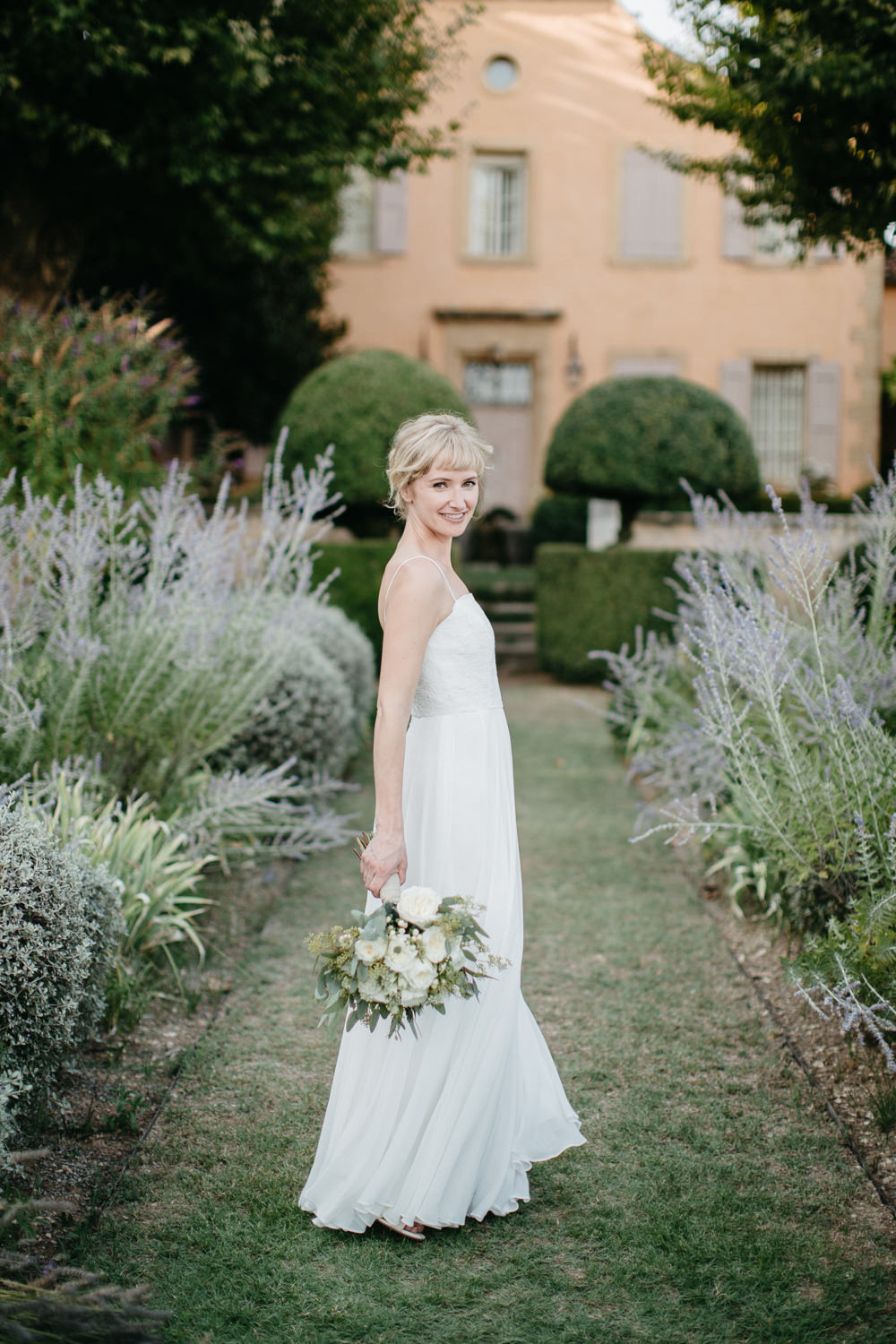 Bride during her wedding in the south of France in Lourmarin
