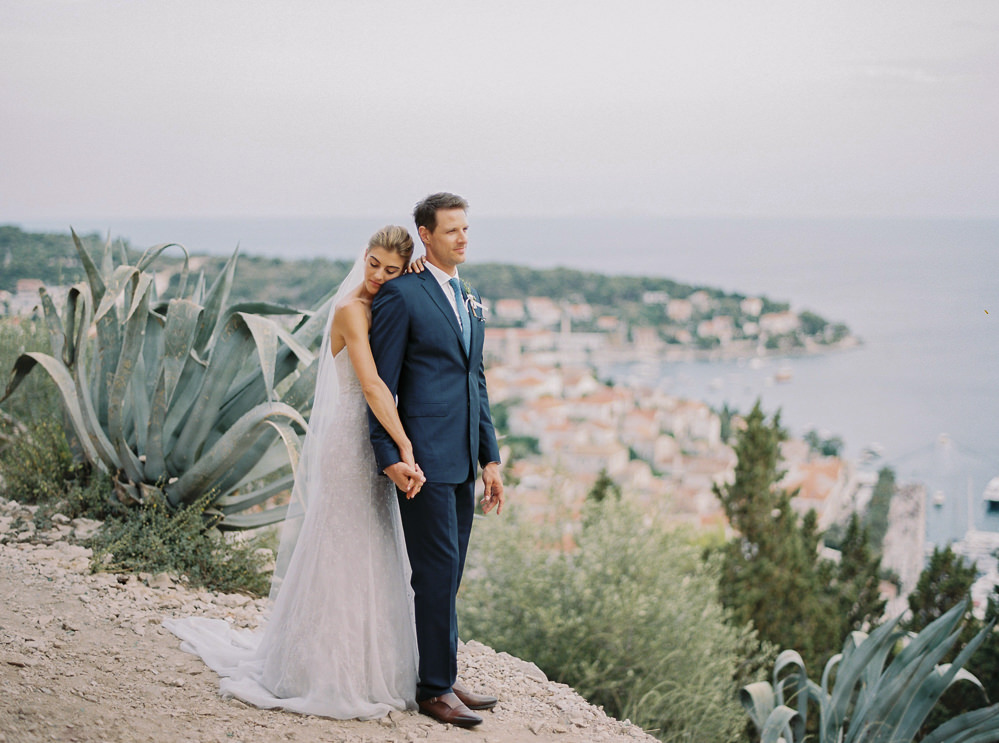 Bride and groom after their wedding ceremony in Hvar in Croatia