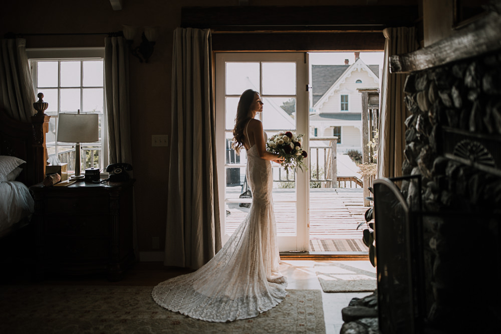 Bride getting ready in California