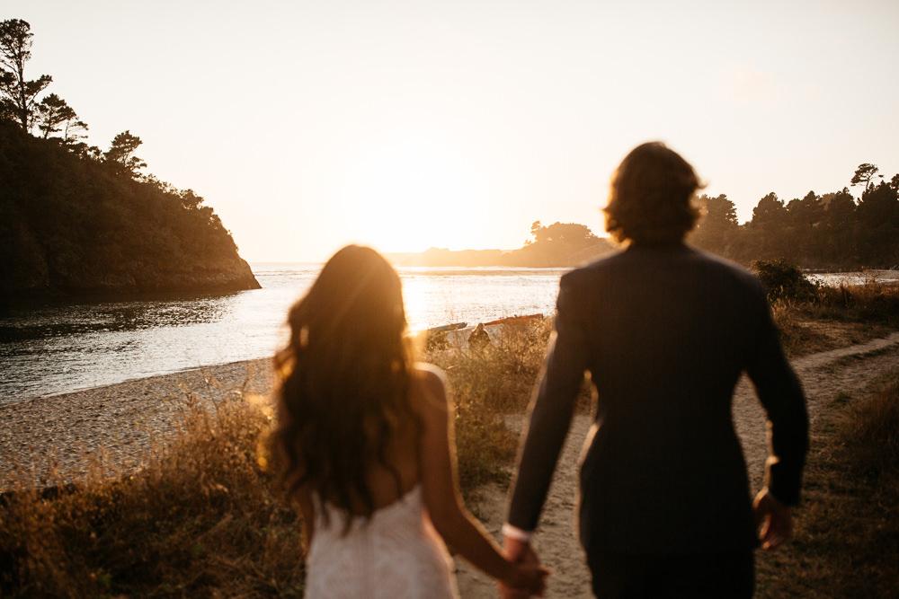 bride & groom on the beach in California