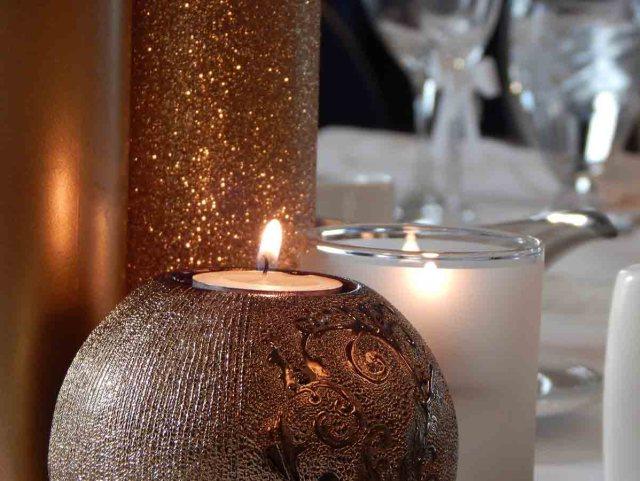 Kerze Gold Weihnachtskerze