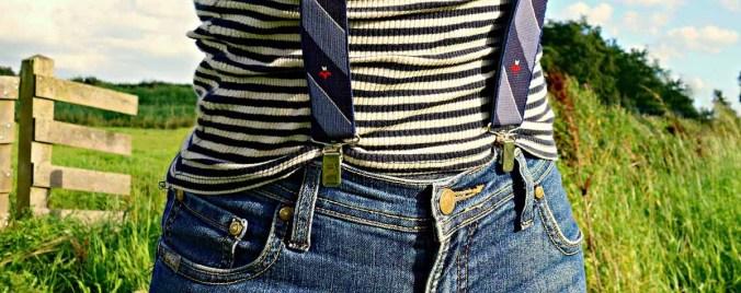 Streifen Hosenträger Jeans