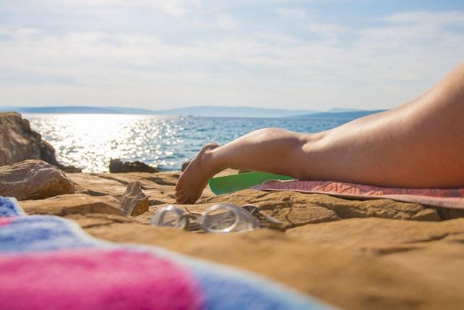 Sonnenbad Strand Taucherbrille