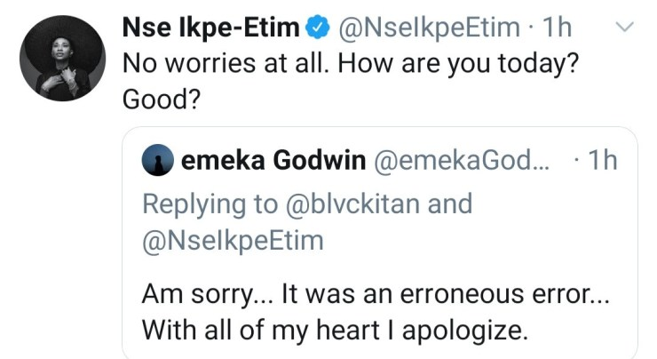 Nse Ikpe-Etim responds to follower who asked her