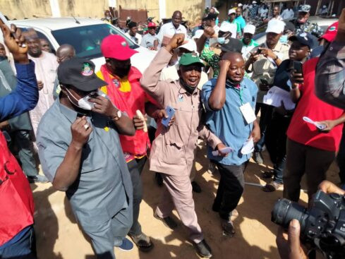 Kaduna state secretariat and train station shut down as NLC members take to the street to protest over mass sack of workers