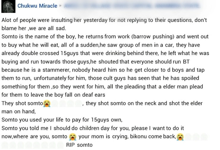 Suspected cultists reportedly kill teenage boy in Anambra after he warned some men of impending attack