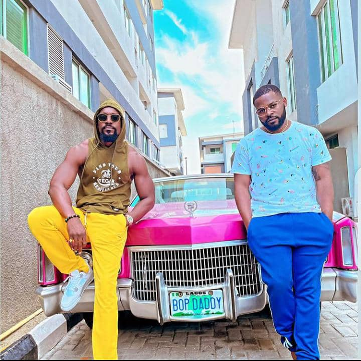 Falz and friend stepping out casually