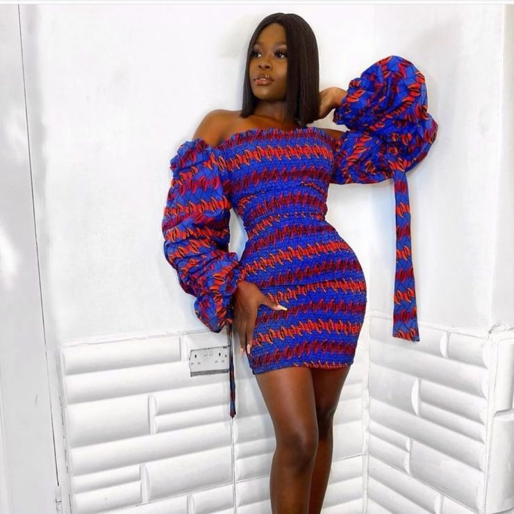 Ankara Gown With Flutter Sleeves