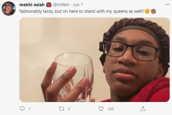 Black men wear bonnets to stand in solidarity with Black women after Mo