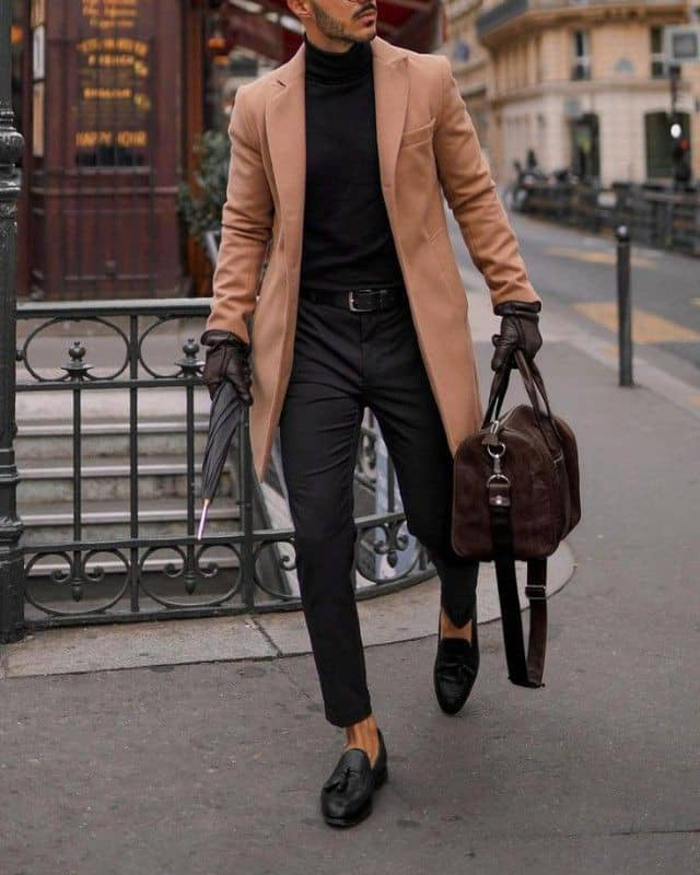 man wearing polo neck with good shoes