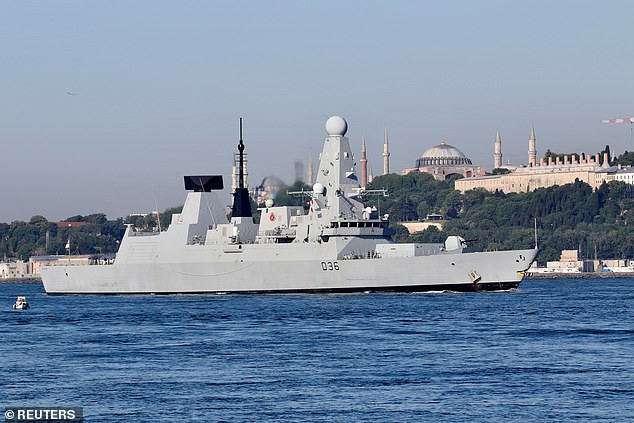 UK denies claims that Russian jets fired bombs at its Royal Navy Destroyer ship as it patrolled Black Sea with US, Dutch and Ukrainian forces