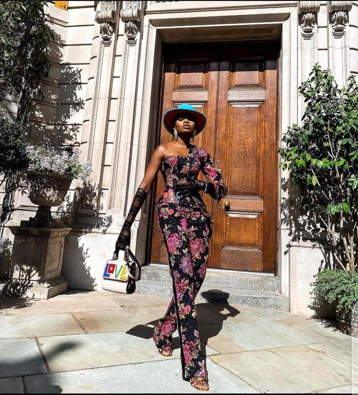 lady wearing eccentric jumpsuit outfit