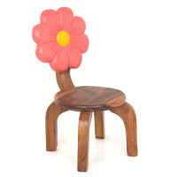 Wooden Pink Flower Chair - Lifestyle Arts and Crafts