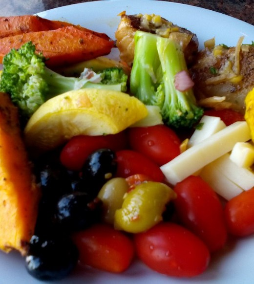 vegetables with pork steak