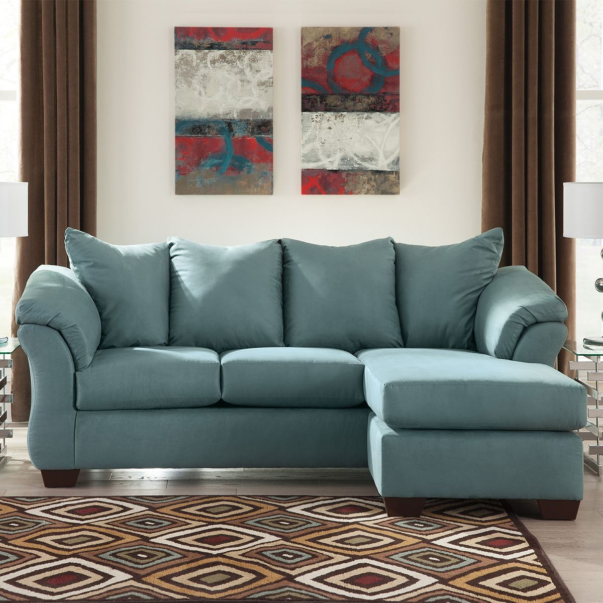 Lounge Couch Austin Sofa Chaise In Sky | Living Room Sofas | Lifestyle ...