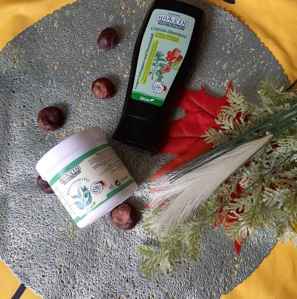 Șampon cu cofeină și gel pentru calmarea iritațiilor
