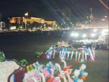 Toys stalls on the beach.