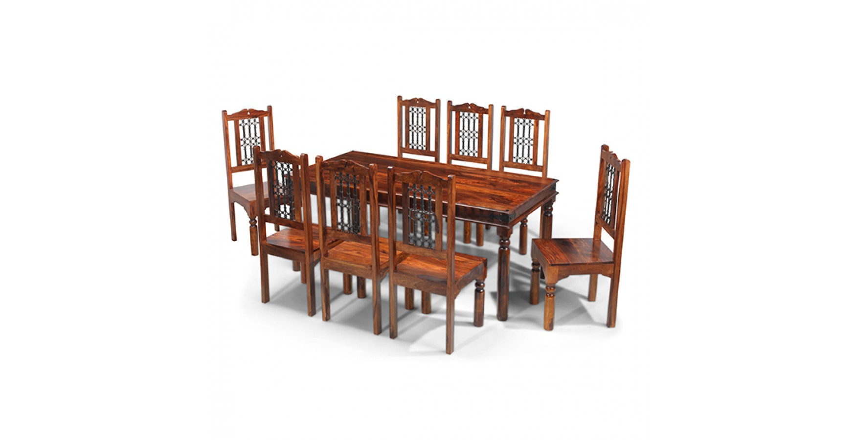 8 Chair Dining Set Jali Sheesham 180 Cm Thakat Dining Table And 8 Chairs