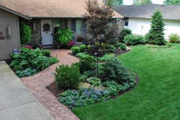 stamped concrete walk, front yard landscaping