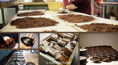 Produktion Kaffee Tassen Collage