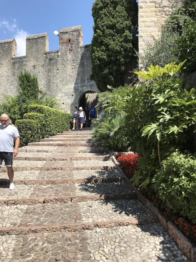 The stairs to the Scaliger Castle at Lake Garda