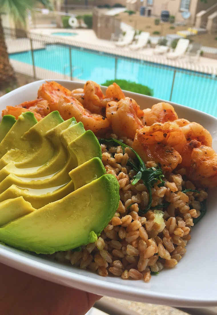 Quick lime Farro, Shrimp and Avocado healthy dinner high protein