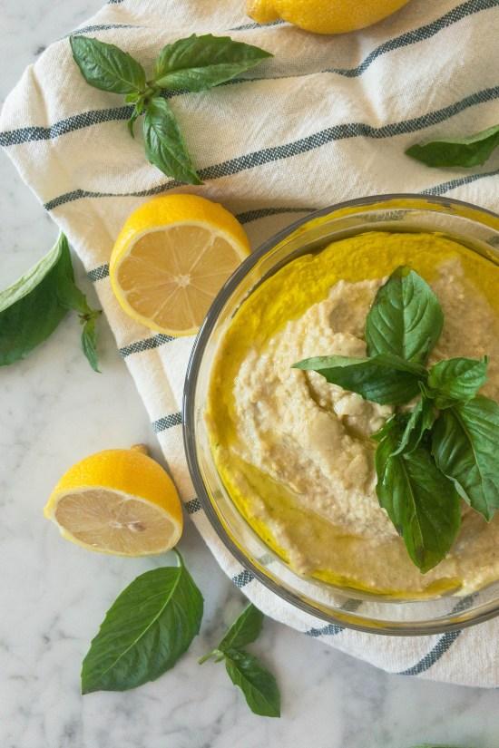 Summer basil hummus with no preservatives!
