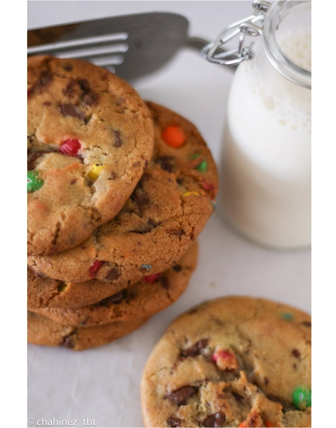 Delicious homemade chocolate chip cookies with m&M's
