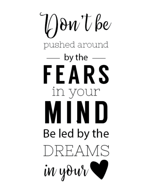 Don't be pushed around by the fears in your mind. Be led by the dreams in your heart.