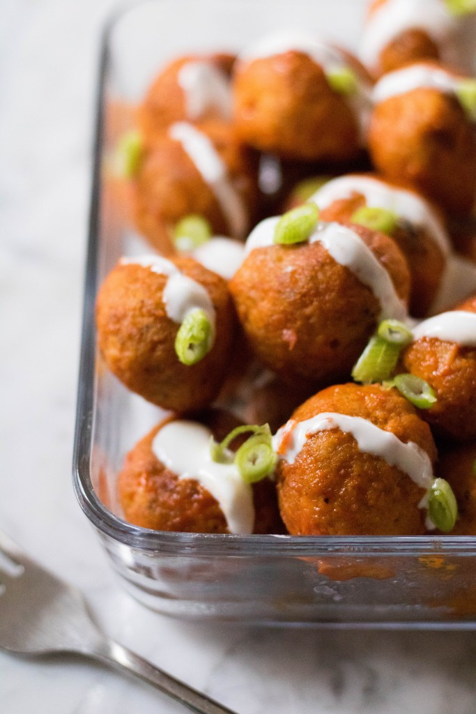 Delicious chicken buffalo meatballs. Healthy and good for you