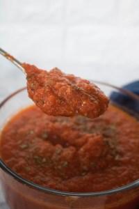 fresh, homemade marinara sauce ready to be served
