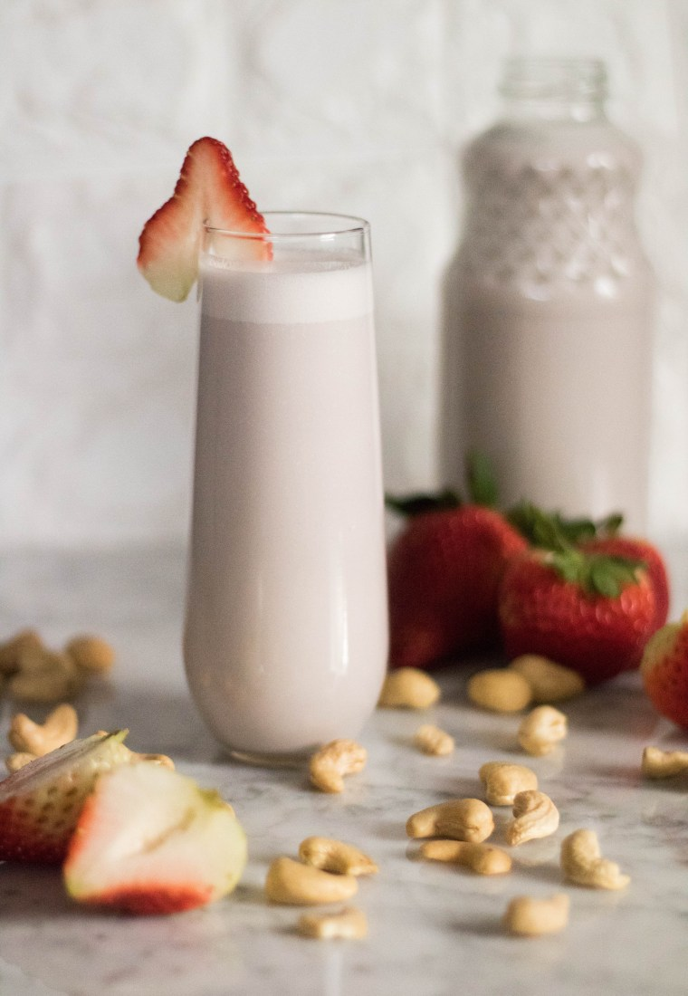 The 20 Minute Strawberry Cashew Milk