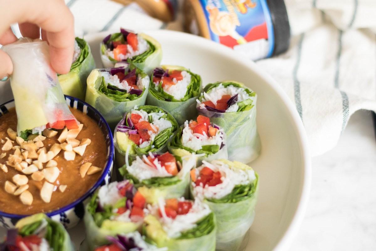 Summer fresh veggie Spring rolls with peanut dipping sauce