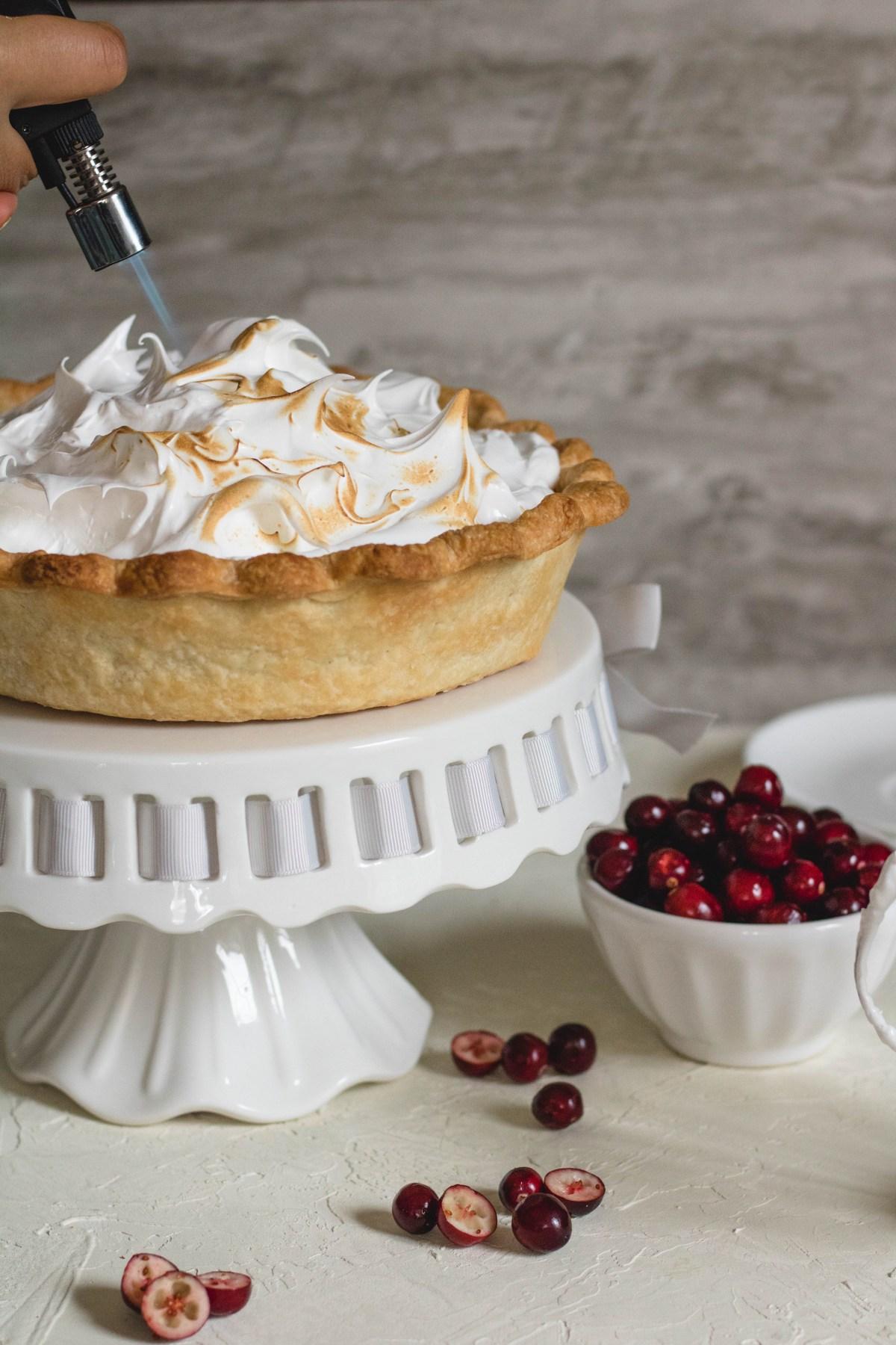 Cranberry meringue pie recipe using the homemade pie crust