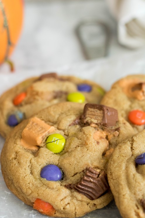 Baked Leftover Halloween Candy Cookies close up
