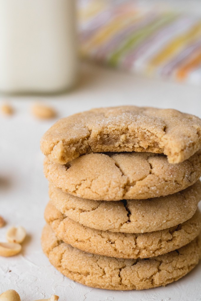 Stack of soft and chewy peanut butter cookies