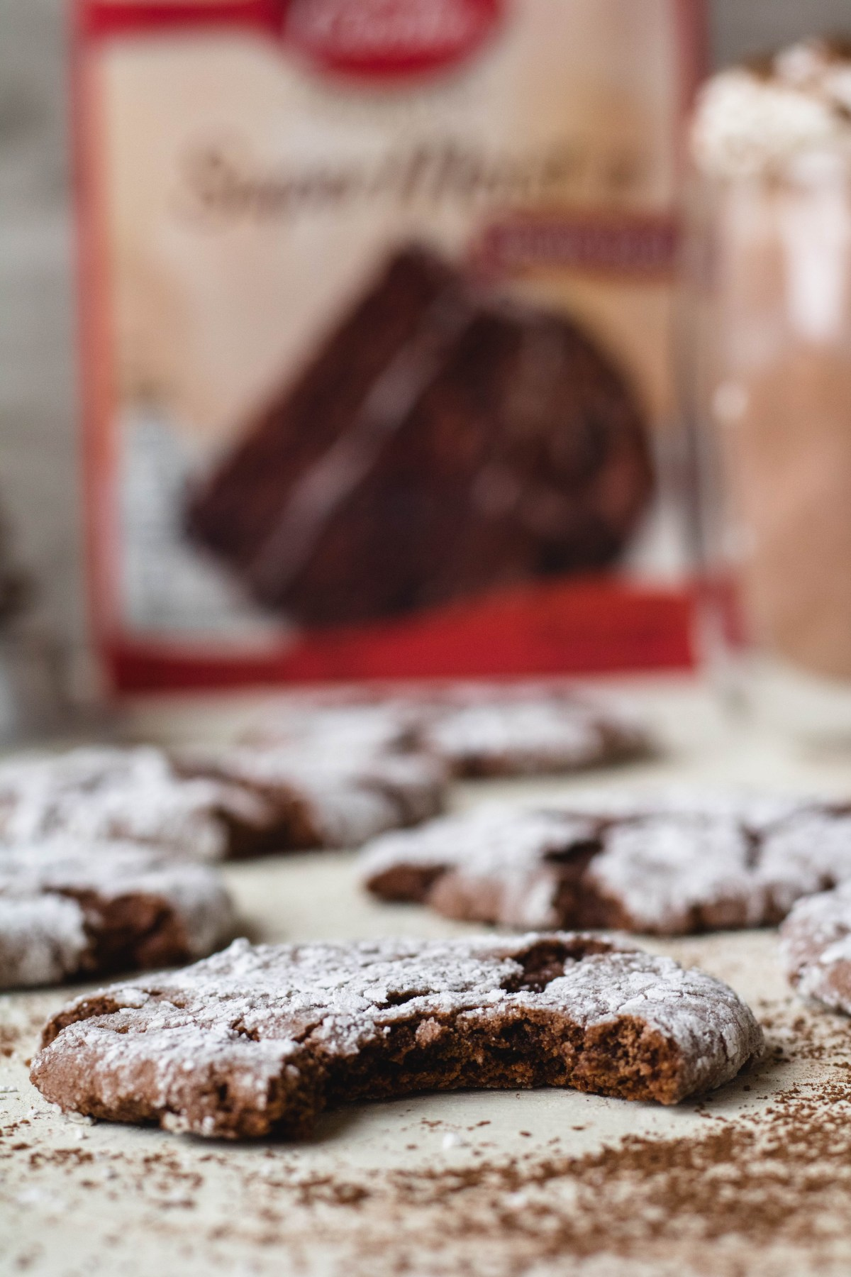 Thin and Fudgy cake mix chocolate crinkle cookies