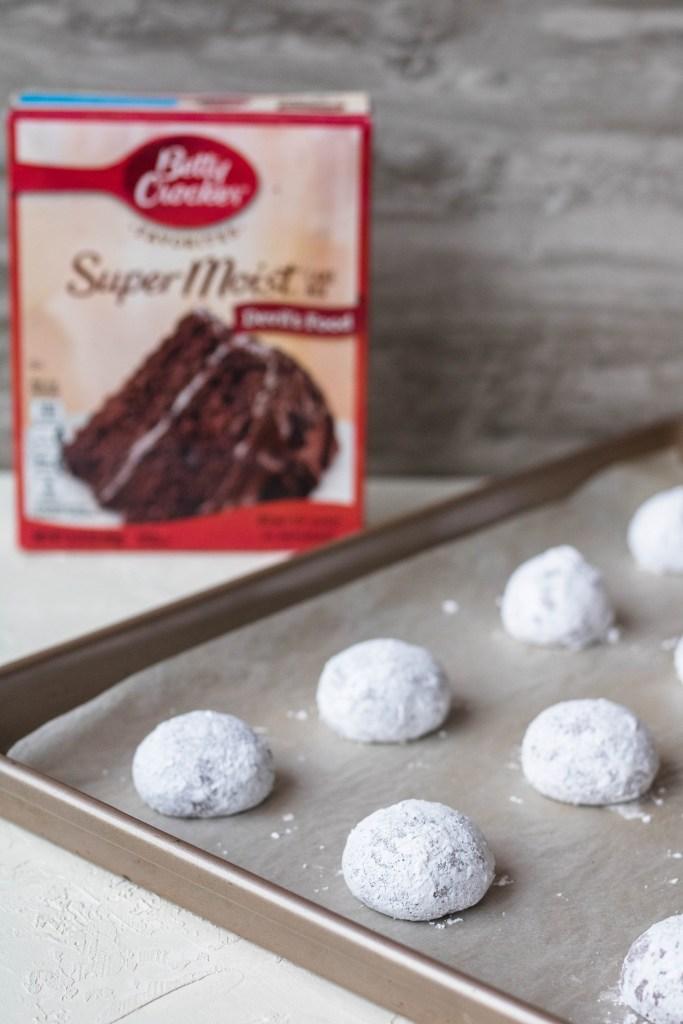 Cake mix chocolate crinkle cookies before baking