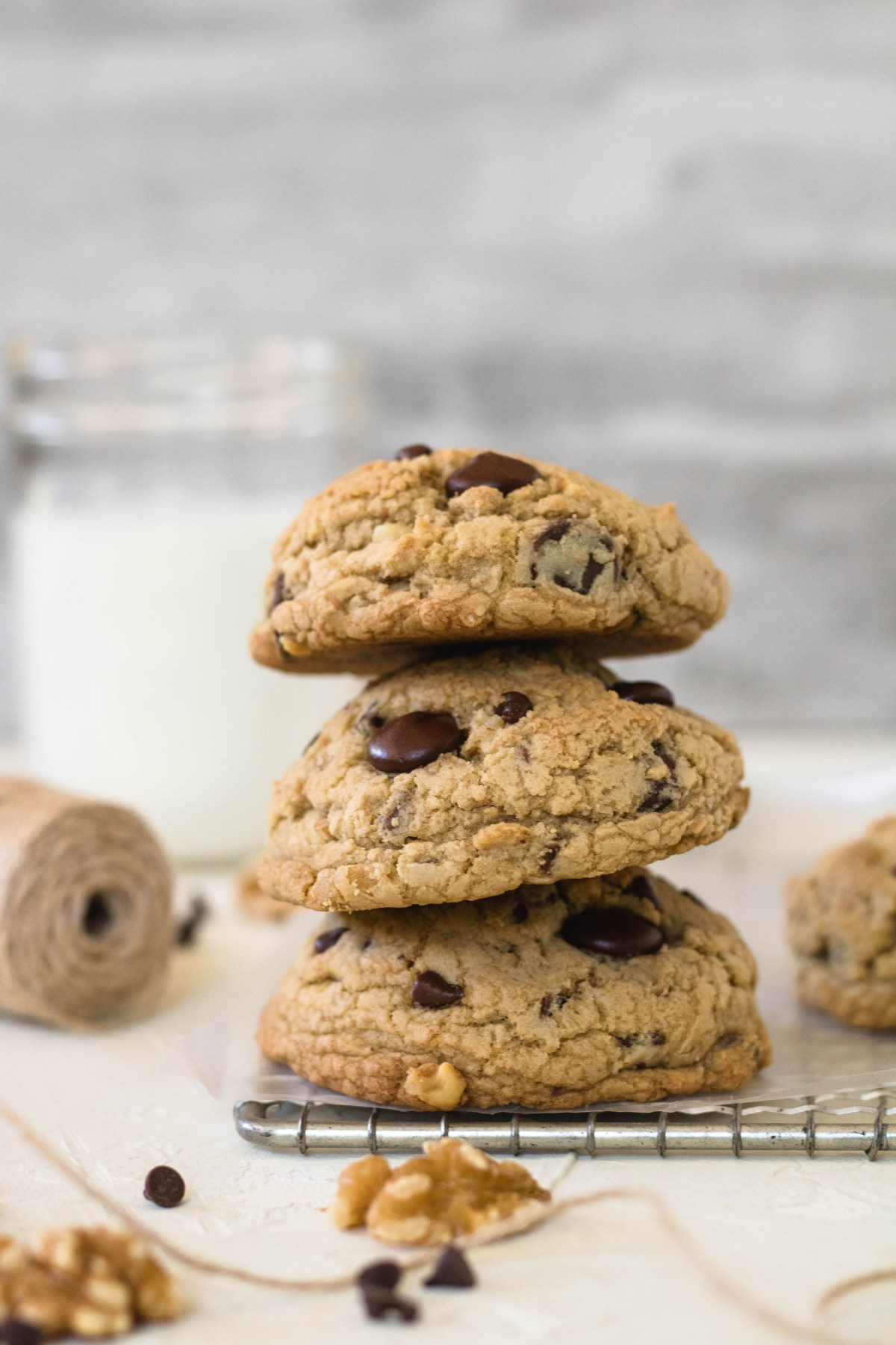 Thick chocolate chip walnut cookie stack