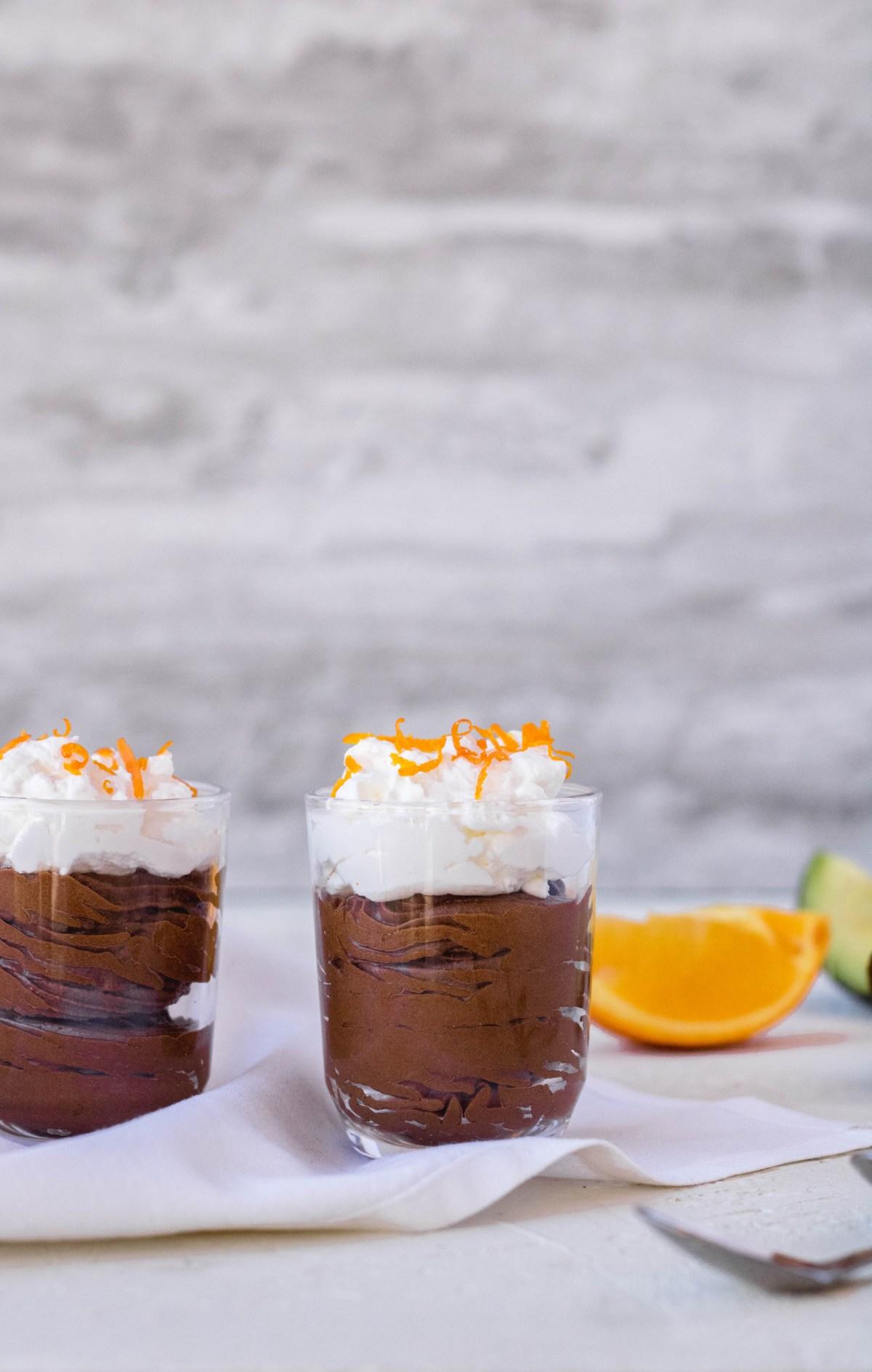 Vegan chocolate orange mousse for valentine's day