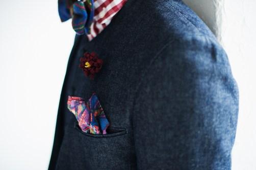 ノーカラースタイルのデニム素材でカジュアルウェディング新郎衣装|lifestyleorder
