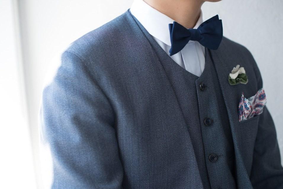ノーカラースーツ|メンズブルー