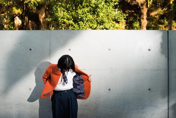 レディースオーダージャケット|ノーカラーオレンジ