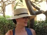 blue dress with big hat