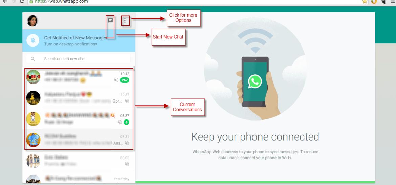 WhatsApp for Web Navigation