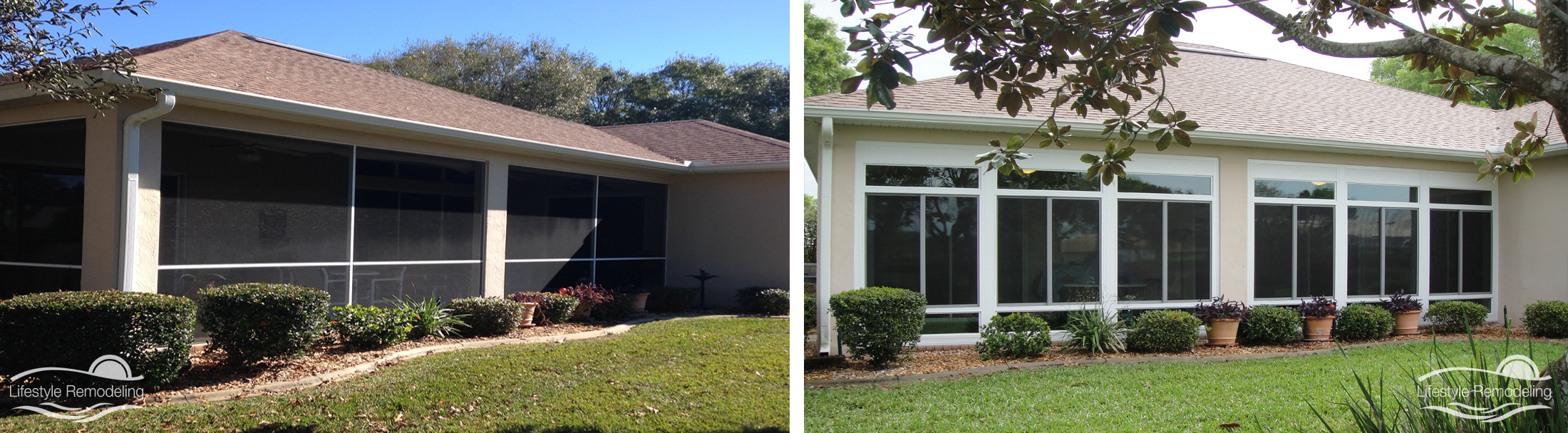 Patio Enclosure Before  After Gallery  Lifestyle Remodeling  Tampa Bay Sunrooms WalkIn Tubs