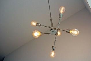 """Modern, """"sputnik"""" style light fixtures in polished chrome"""