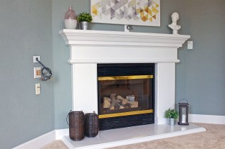 Master bedroom fireplace with surround sound wiring