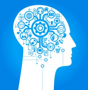 human head with an interface icons