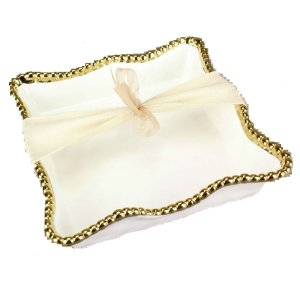 Pampa Bay White and Gold Cocktail Napkin Holder CER-2213-WG